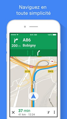 Application Google maps pour motard