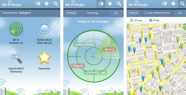 Application WiFi Finder pour motard